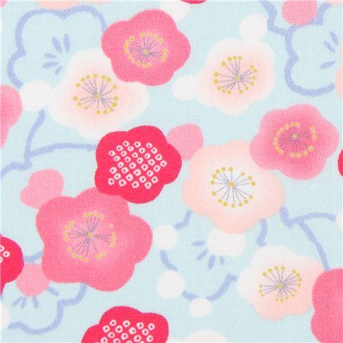 Tessuto Celeste Asia Fiori Rosa Pesca Rosa Dal Giappone