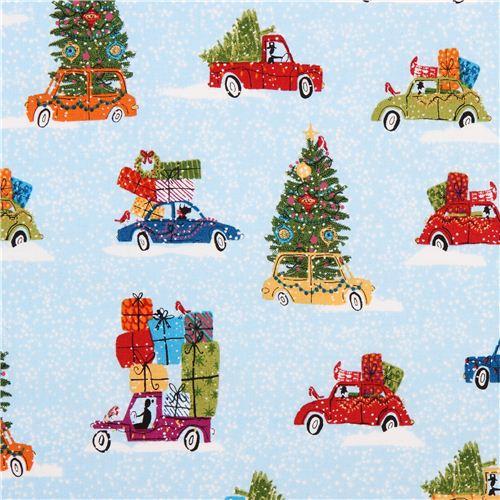 Auto Weihnachtsbaum.Hellblauer Weihnachtsbaum Auto Stoff Andover Usa Kawaii Fabric Shop