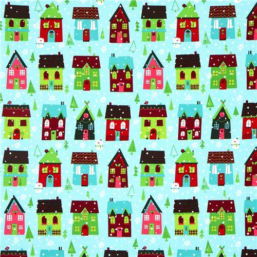 light blue Robert Kaufman Christmas fabric snowman house ...