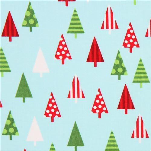 light blue Robert Kaufman fabric cute colorful Christmas tree ...