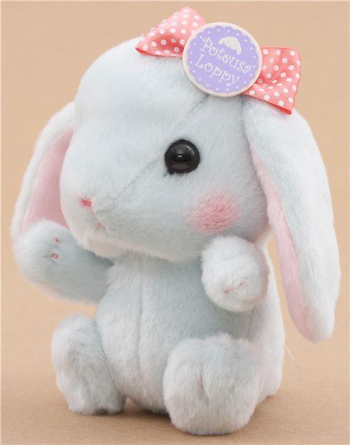 light blue bunny rabbit coral color bow poteusa loppy