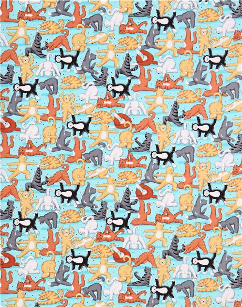 Light Blue Cat Yoga Fabric By Quilting Treasures Animal