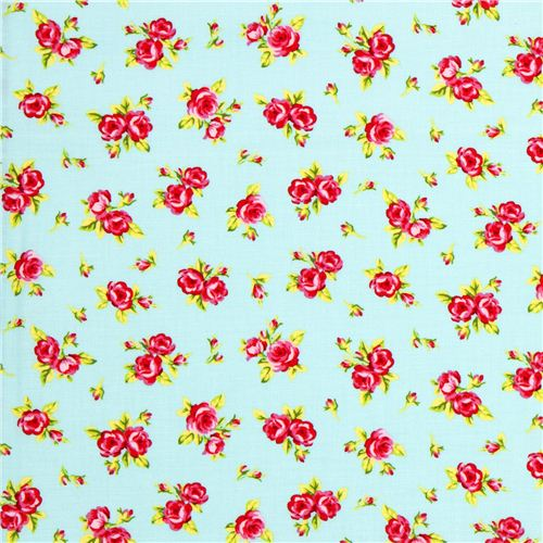 Turquoise Riley Blake Fabric With Pink Flowers