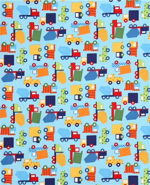 Light Blue Truck Construction Vehicle Car Fabric Robert