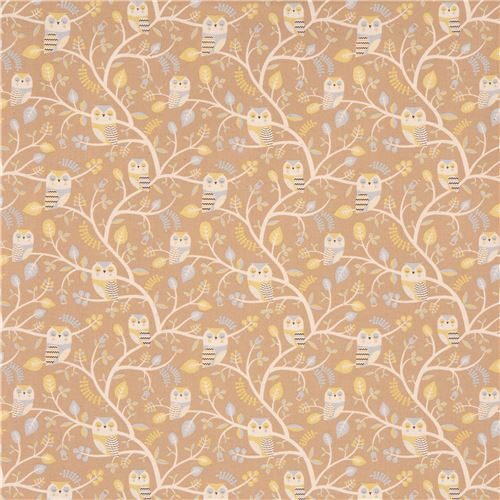light brown natural color light blue owl animal canvas fabric kokka japan 2