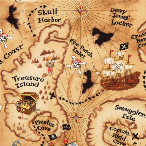 Light brown pirate treasure map fabric by timeless treasures light brown pirate treasure map fabric by timeless treasures 1 gumiabroncs Image collections