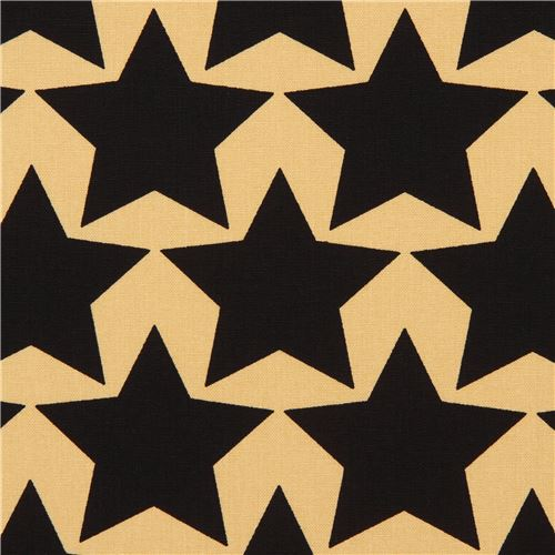 light brown-yellow with black star Canvas fabric from Japan - Dots ...