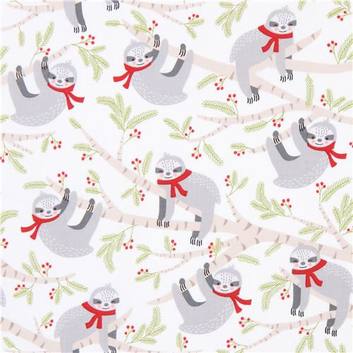 light cream Robert Kaufman sloth Christmas fabric Frosty Friends ...