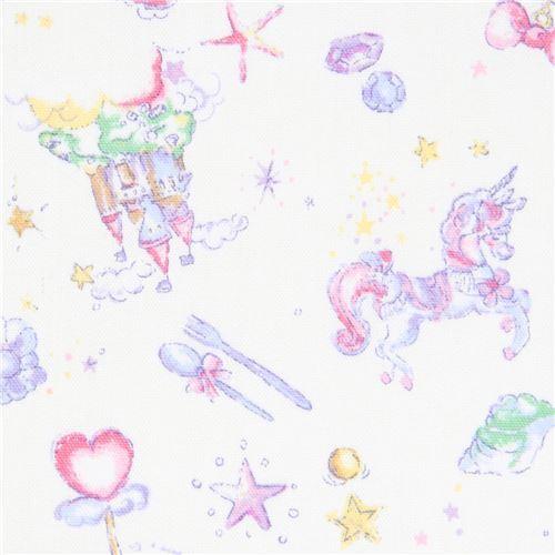 Tela oxford color crema con unicornio castillo cuento de hadas de ...