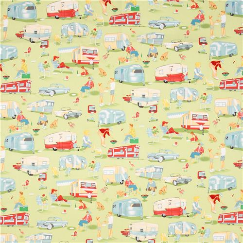 Light green retro fabric camping trailer michael miller for Bright childrens fabric