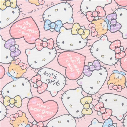 679bab365 Remnant 39 cm - light pink Hello Kitty face heart oxford fabric ...