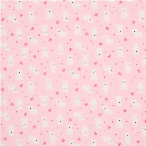 light pink lecien fabric small white bear pink snowflake animal