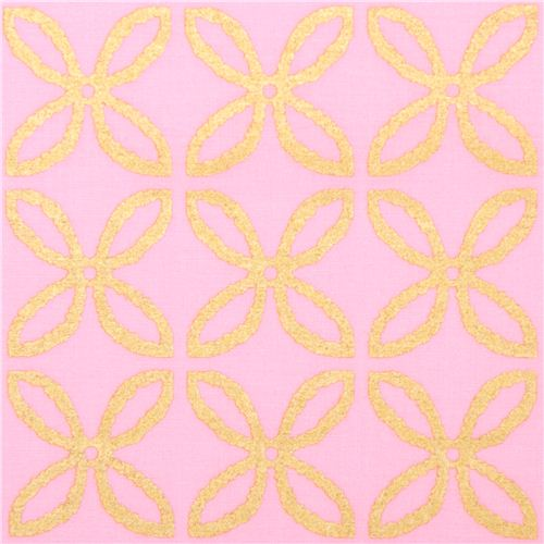 Beautiful Light Pink Fabric With Shiny Gold Color Flower Design By Michael Miller USA  1 Nice Look