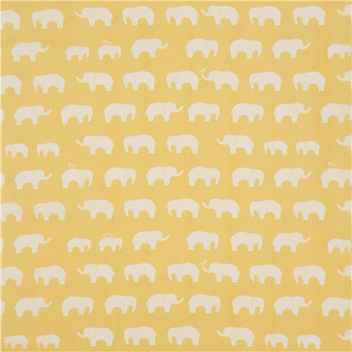 light yellow birch organic fabric with white elephants USA - Animal ...