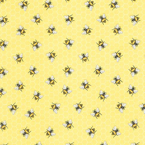 Light Yellow Fabric With Bee Insect Honeycomb Pattern By Timeless Fascinating Bee Pattern
