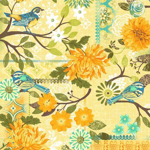 Light yellow flower leaf bird pattern fabric by studioe blue bird light yellow flower leaf bird pattern fabric by studioe blue bird 1 mightylinksfo