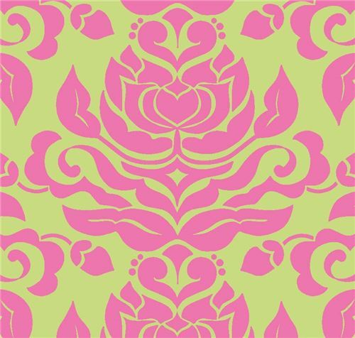 lime green Riley Blake big hot pink flower pattern fabric 2