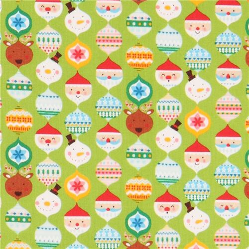 Lime Green Cute Colorful Santa Reindeer Christmas Decoration Fabric From An