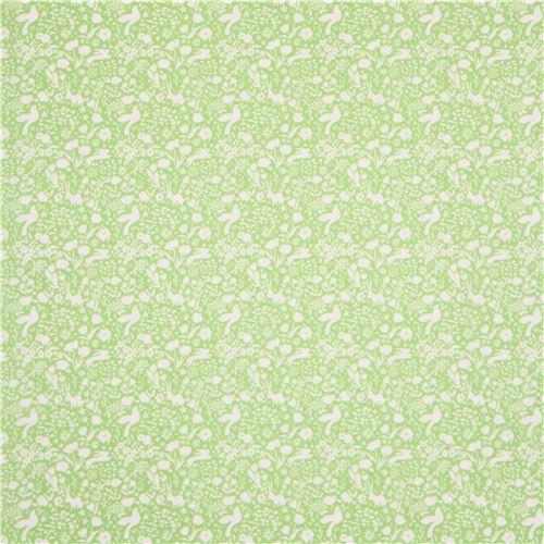 lime green fabric white flower bird rabbit by Michael Miller USA ...