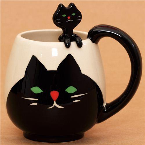 Tasse avec un chat manmaru et une cuill re t te de chat tasses mugs bo tes bento - Un ou une thermos ...