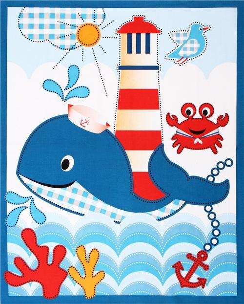 Tela n utica animal marino ballena whales adventure panel - Telas con dibujos infantiles ...
