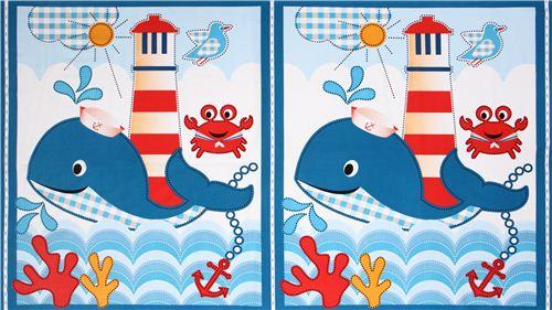 maritimer wal paneel tier stoff whales adventure panel tierstoffe stoffe kawaii shop modes4u. Black Bedroom Furniture Sets. Home Design Ideas