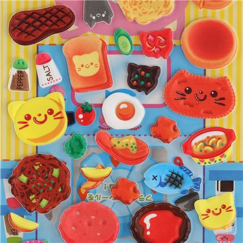 meat food 3D stickers and pan sticker from Japan 1