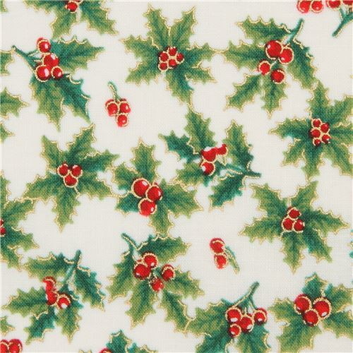 Christmas Green.Metallic Gold Christmas Fabric In Cream With Green Holly And Berries