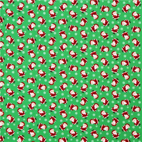 Tessuto Natalizio Verde Timeless Treasures Mini Santas