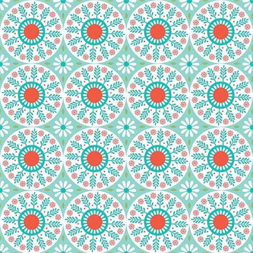 Mint Green Riley Blake White Circle Leaf Orange Center Flower Fabric 2