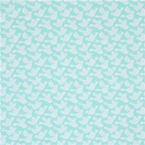 Mint green with light blue bird fabric moda fabrics animal fabric fabric kawaii shop modes4u - Light blue and mint green ...