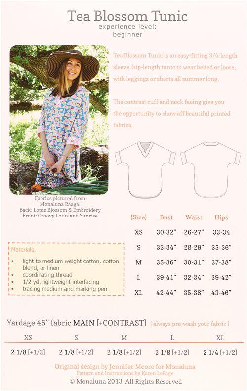 Patrón de costura camisa túnica monaluna Tea Blossom Tunic ...