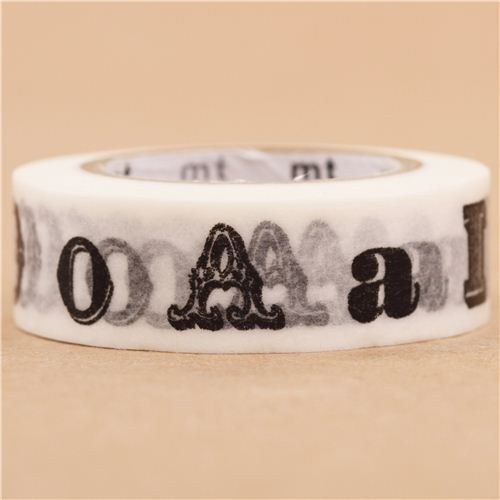mt washi masking tape deco tape black alphabet abc washi. Black Bedroom Furniture Sets. Home Design Ideas