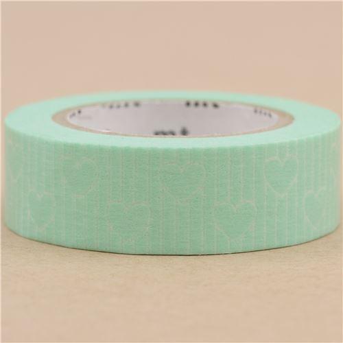 Mt washi masking tape deco tape green stripe heart washi masking tapes deco - Masking tape idees deco ...