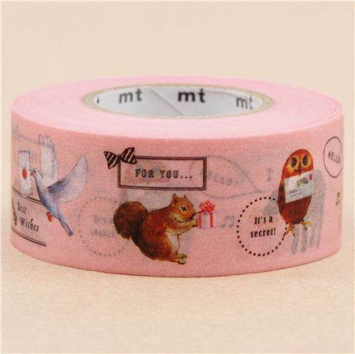 Mt washi tape deco tape with light pink cute owl rabbit animal mt washi masking tape deco tape with light pink cute owl rabbit animal 4 aloadofball Images