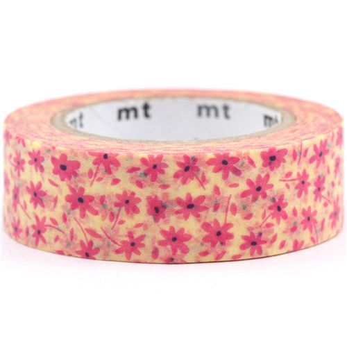 Mt ex washi tape deco tape light yellow with pink flower floral mt ex washi masking tape deco tape light yellow with pink flower 6 aloadofball Images