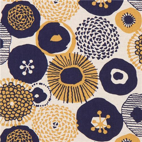 Natural color canvas fabric from japan with navy blue and mustard natural color canvas fabric from japan with navy blue and mustard yellow flowers mightylinksfo