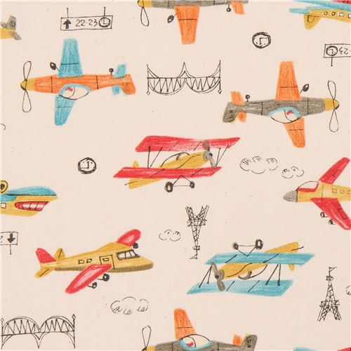 Natural color oxford fabric colorful airplane from japan for Childrens airplane fabric