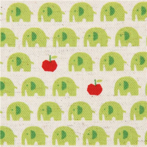 natural color cute lime green elephant red apple Canvas fabric Kokka Japan 1