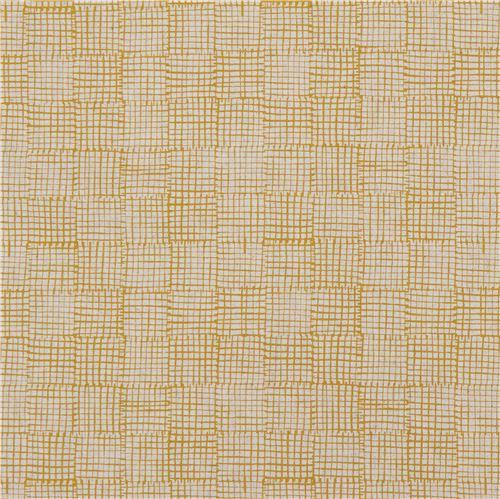 natural color mustard yellow grid design canvas fabric andover usa maker maker 3