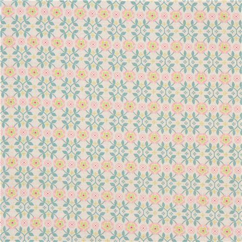 Tela japonesa lona color natural con diseño flor hoja nórdica de ...