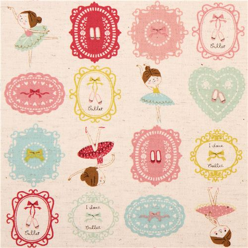 natural-colored canvas ballerina frame ballet fabric by Kokka from ...
