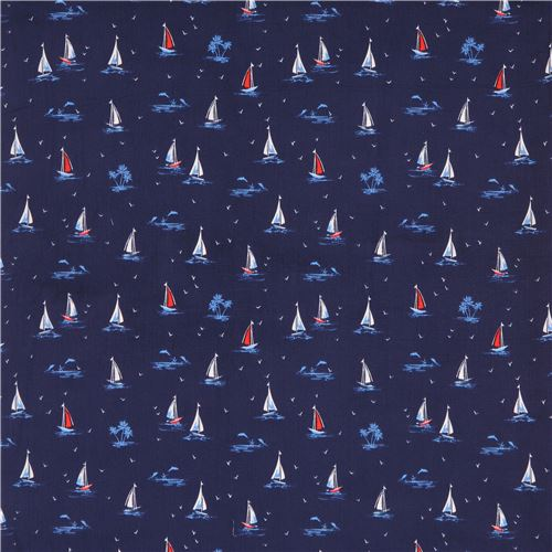 navy blue cute white blue red sailboat Michael Miller fabric Sail On ...
