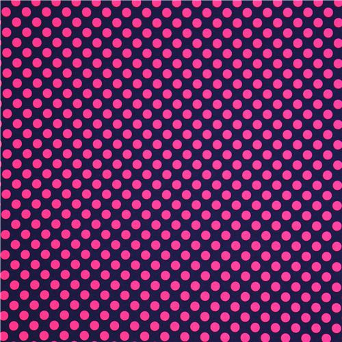 navy blue dot fabric with pink polka dots by Michael ...
