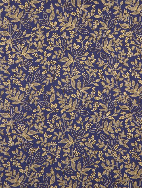 navy blue fabric with leaf gold metallic fabric by Cotton and Steel ...