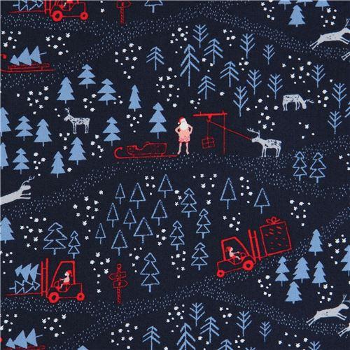 Immagini Natale Usa.Tessuto Blu Scuro Alberi Babbo Natale Renne Dear Stella Usa