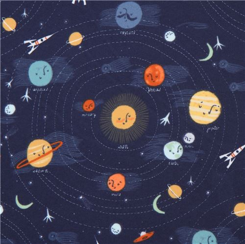 Navy blue with planet sun outer space flannel fabric dear for Space flannel