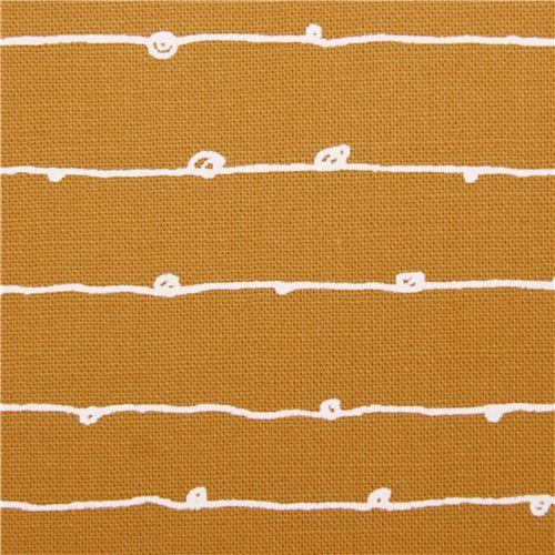Tissu Ocre Avec Des Dessins De Lignes à Pois Yarrow Par Robert Kaufman Usa