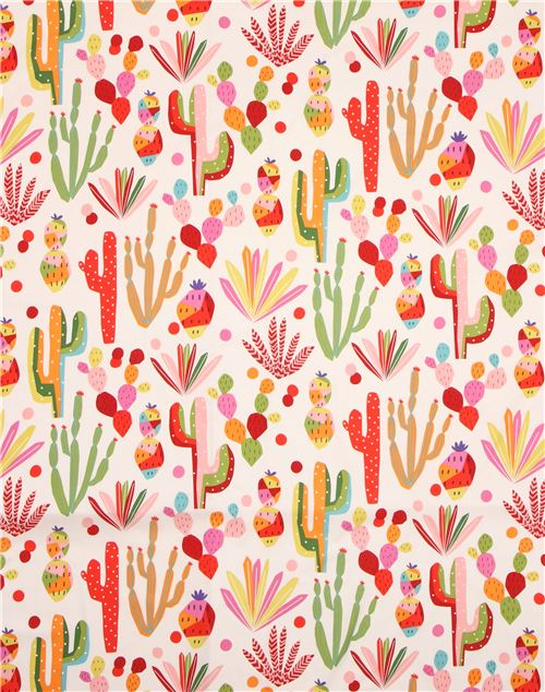 Alexander Henry Folklorico Cactus Flower Natural Fabric By The Yard