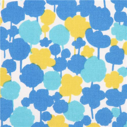 off white Kokka fabric blue yellow flower silhouette - Flower Fabric ...